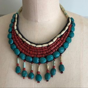 Beads Handmade Tribal Necklace Turquoise Red Color
